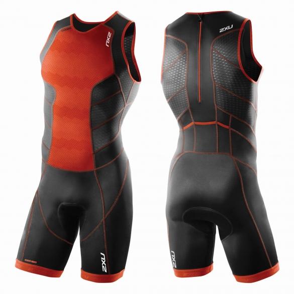 2XU Perform Rear Zip Trisuit Orange/Schwarz Herren        MT3860d