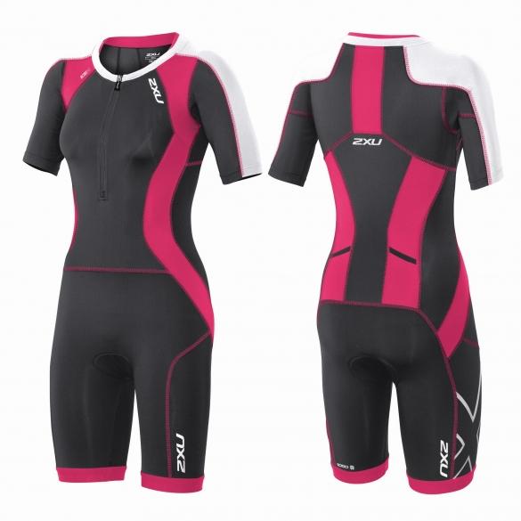 2XU Compression Full Zip sleeved trisuit Schwarz/Rosa Damen   WT3618d