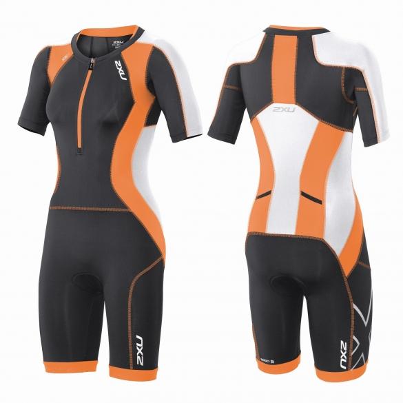 2XU Compression Full Zip sleeved trisuit Orange/Schwarz Damen  WT3618d